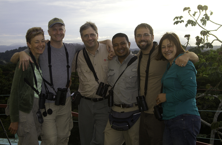 Our last dawn for this trip atop the Canopy Tower - <br />Geraldine King, Tom Feild, Jeff Bouton, Carlos Bethancourt, Bill Hubick, Becky Hubick. Photo by Bill Hubick.